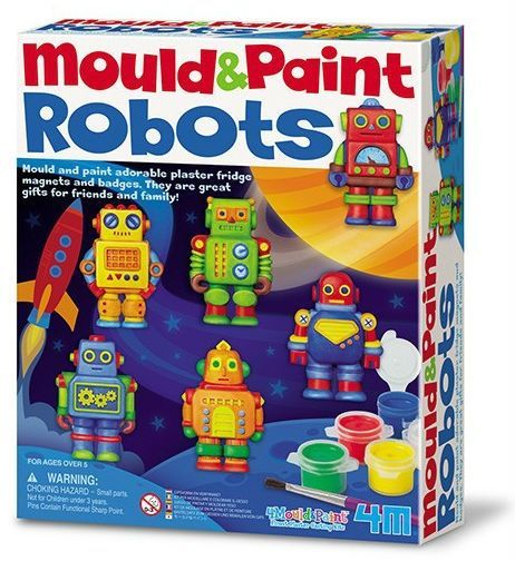 Image of   Make your own Robot magnets - Mould & Paint fra 4M
