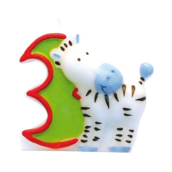 Image of Fødselsdagslys fra Amscan - Safari - 3 år (551793)