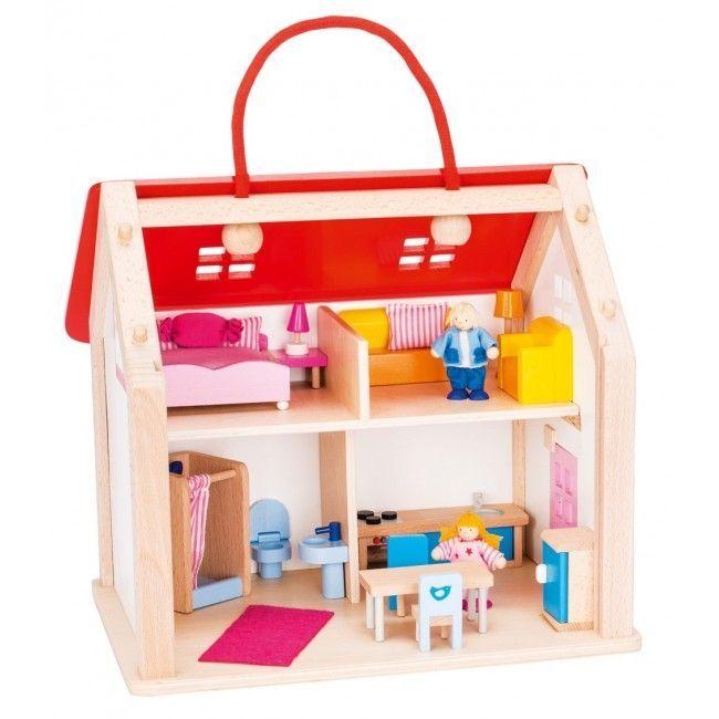 Dukkehus fra Goki - Møbleret - Suitcase Dolls House