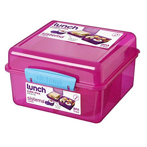 Madkasse Lunch Cube Max fra Sistema - Itsy Bitzy Pink/Turkis