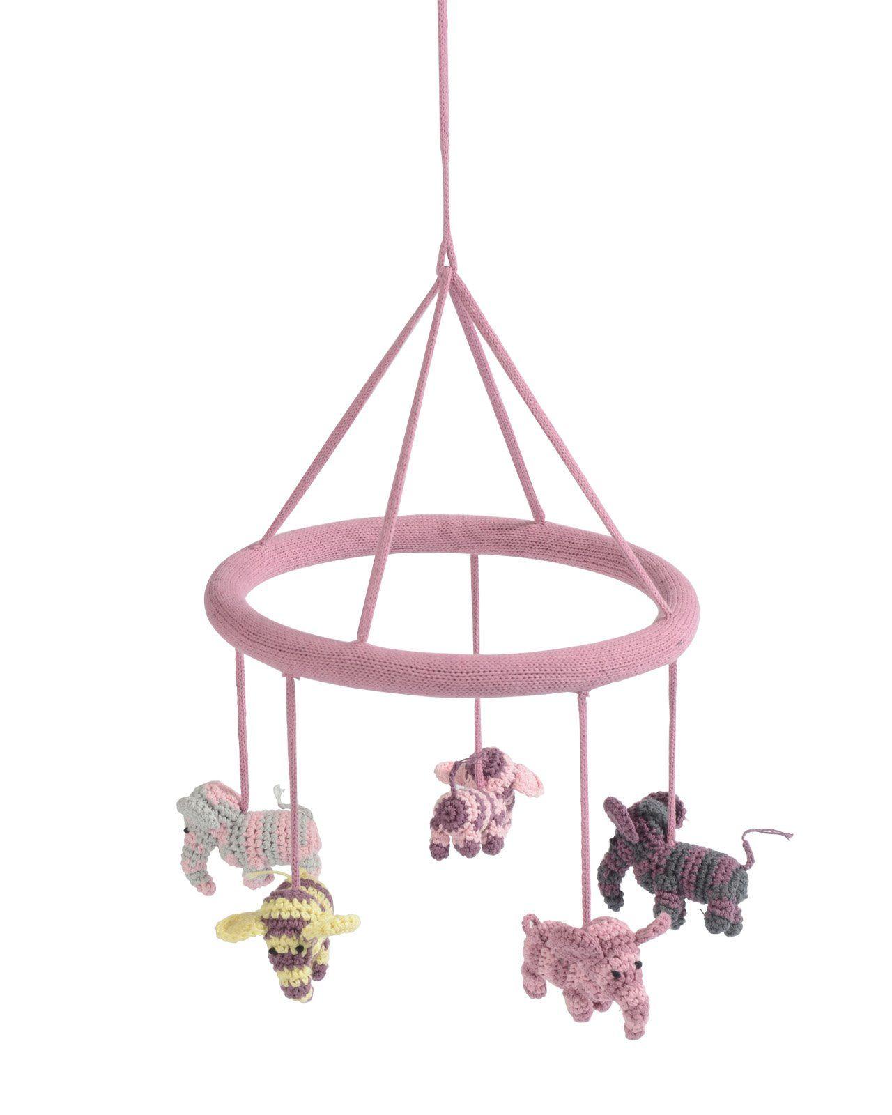 Image of   Hæklet uro fra Smallstuff - Elefanter - Rosa