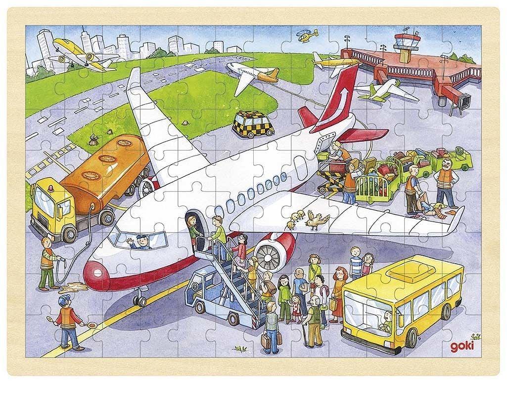 Image of Stort puslespil fra Goki - Lufthavn (3+) (57544)