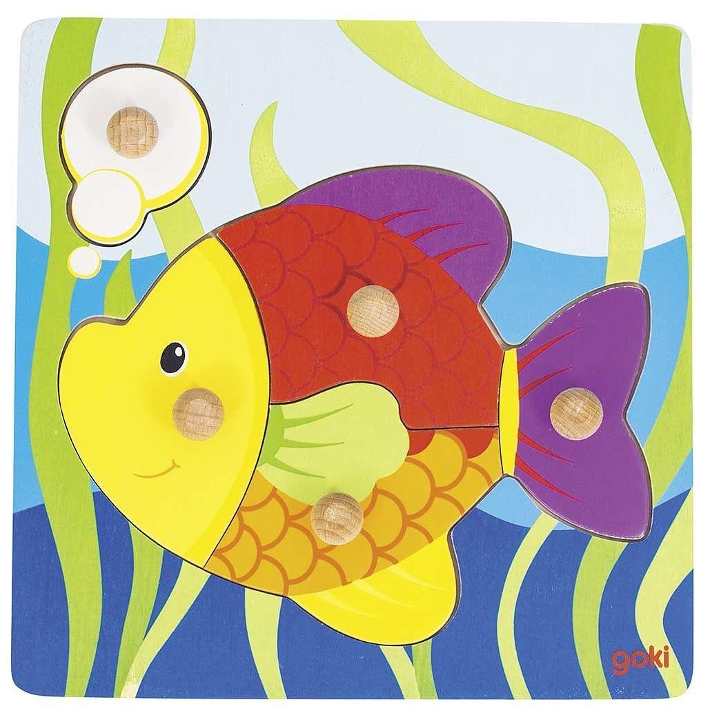 Image of   Knoppuslespil fra Goki - Fisk (1+)