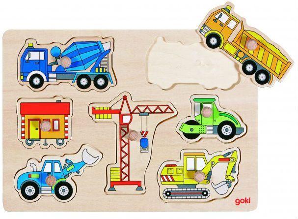Knoppuslespil fra Goki - Byggepladsmaskiner (1+) thumbnail