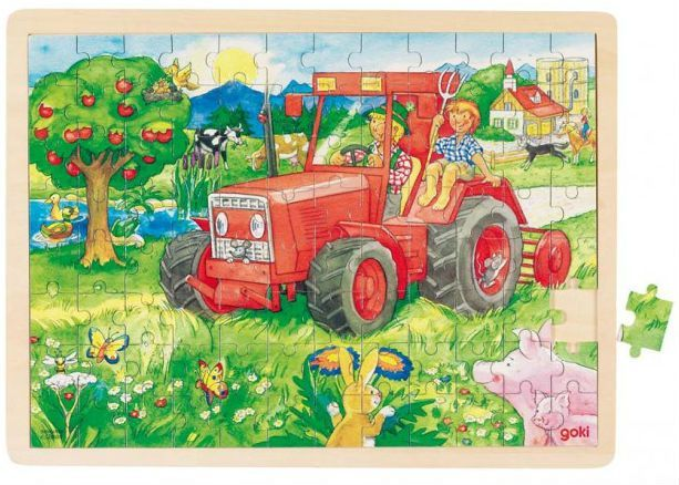 Image of Stort puslespil fra Goki - Traktor (3+) (57655)