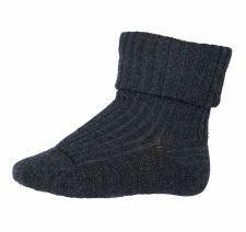 Image of Rib strømper i uld fra MP i mørk gråmeleret (589-497)