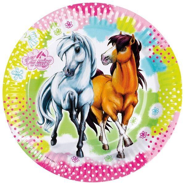 Image of   Stor paptallerken - Søde heste (8 stk)