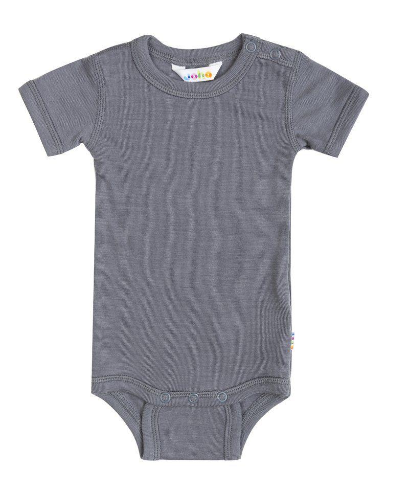Image of   Body med korte ærmer fra Joha i uld/silke - Rabbit grey
