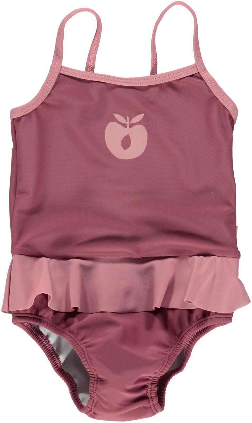 Image of   Baby badedragt fra Småfolk - Gammelrosa og stort æble