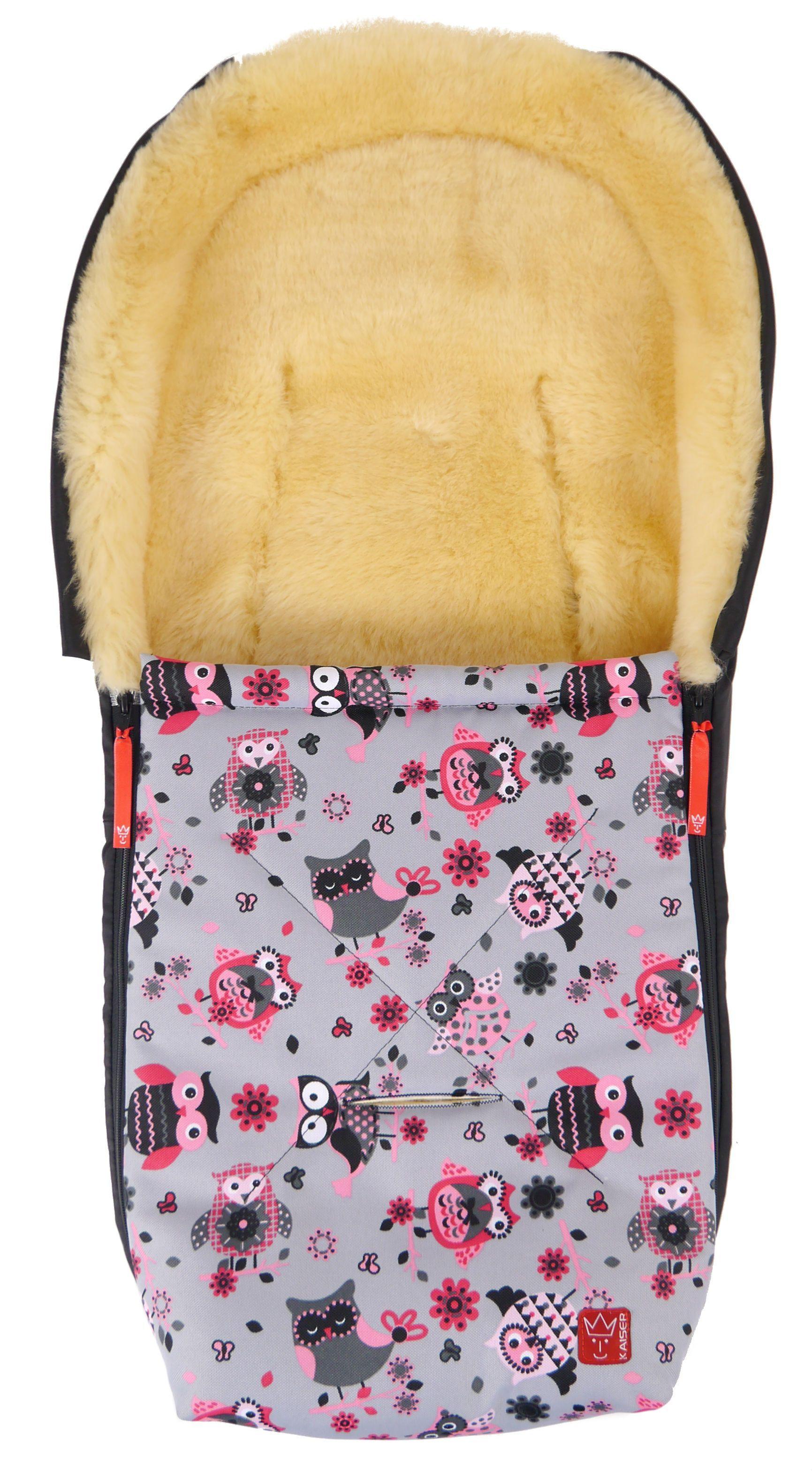 Baby kørepose m. lammeskind - Emma - Pink Owls