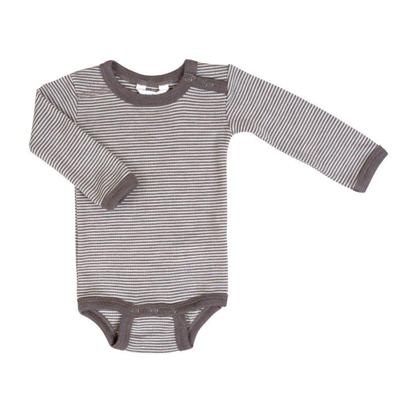Image of   Body fra Joha - Uld-silke - L/Æ - Iron Brown Stripe