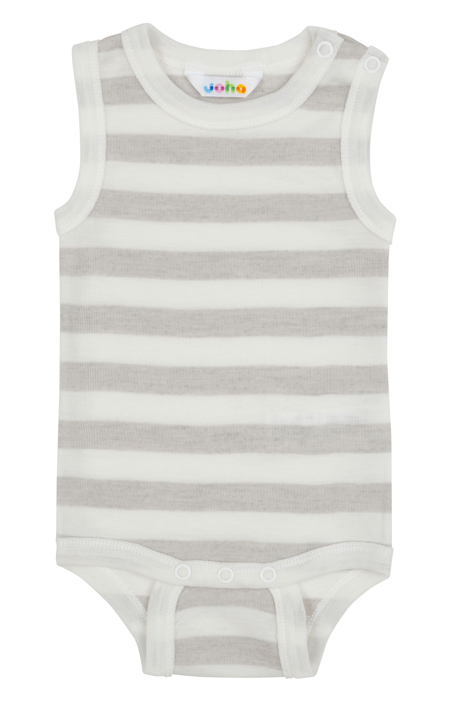 Image of   Body uden ærmer fra Joha i uld-silke m. White-grey stripe