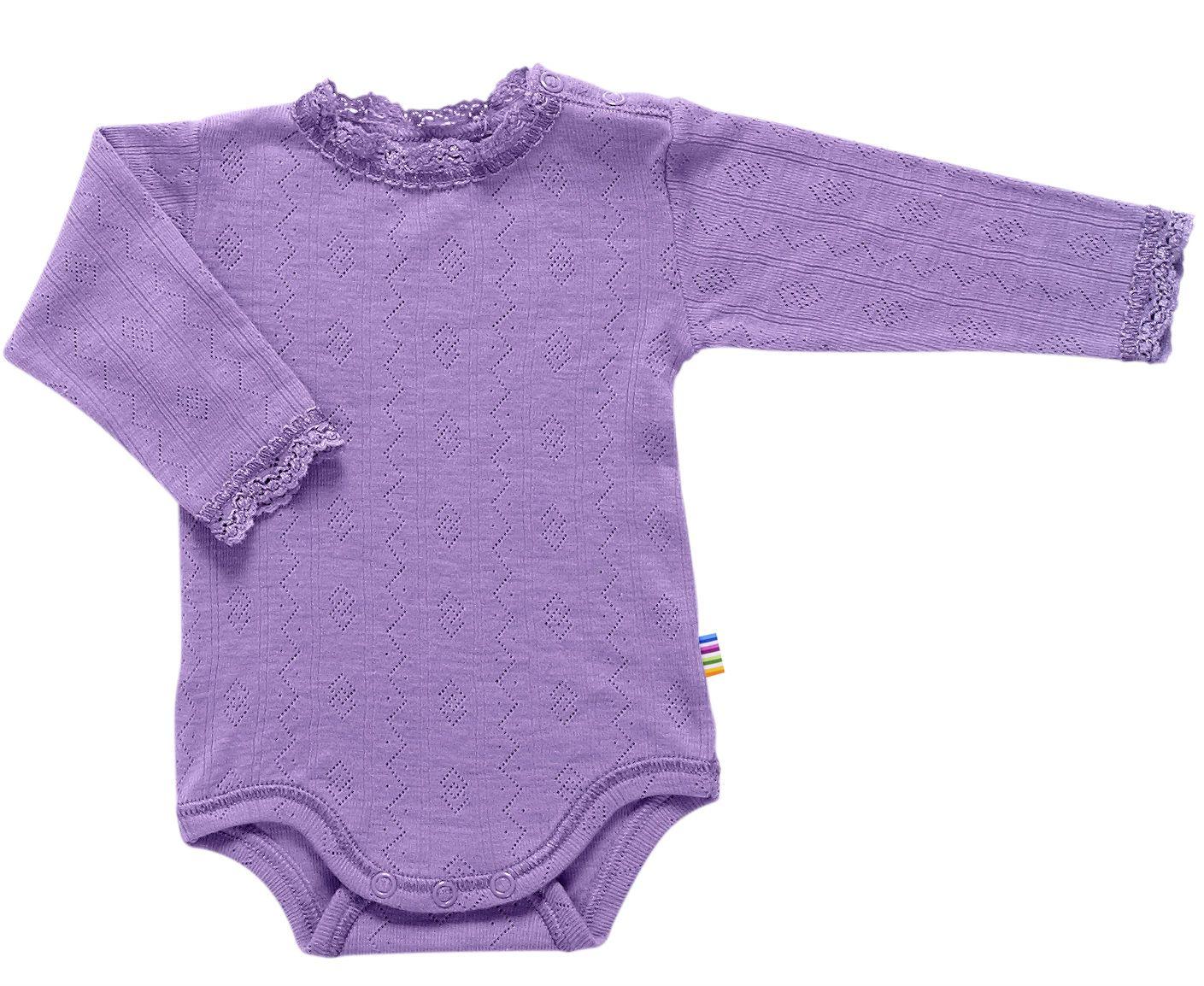 Body fra Joha - Uld/silke - Blondekant og hulmønster - Lavendel