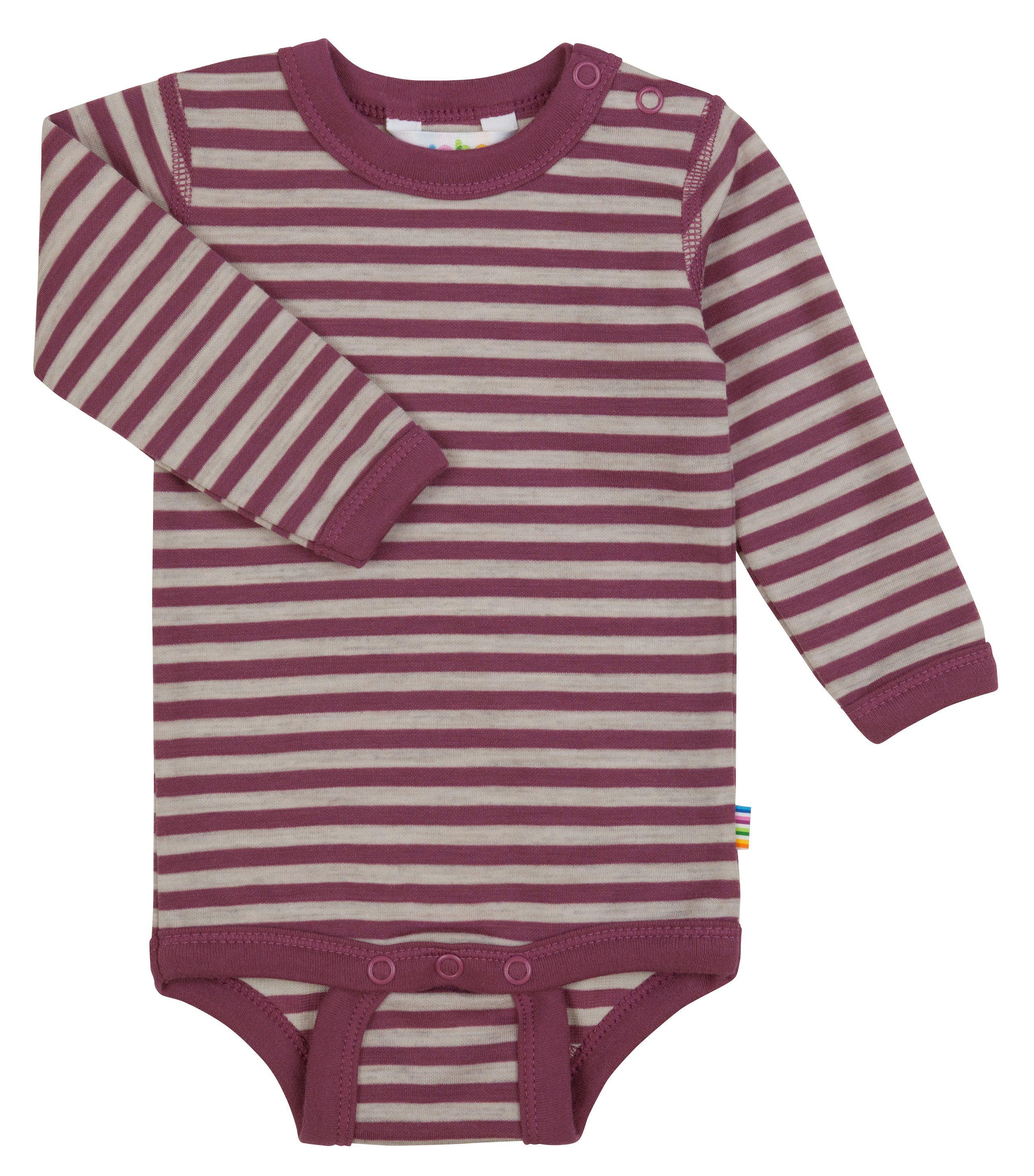 Body m. lange ærmer fra Joha i uld-bomuld m. Red-grey stripe