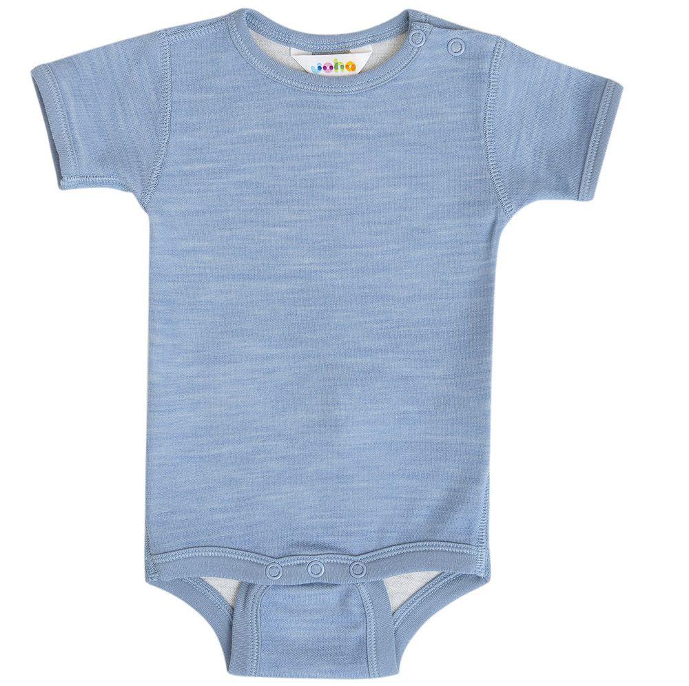 Body m. korte ærmer fra Joha i uld / bomuld - Blue Melange