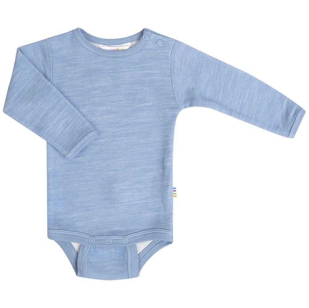 Body m. lange ærmer fra Joha i uld / bomuld - Blue Melange