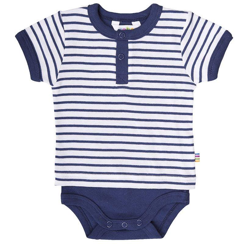 Image of Body fra Joha - m. kortærmet t-shirt - Hvid m. Navy Stripe (68963-134-6842)