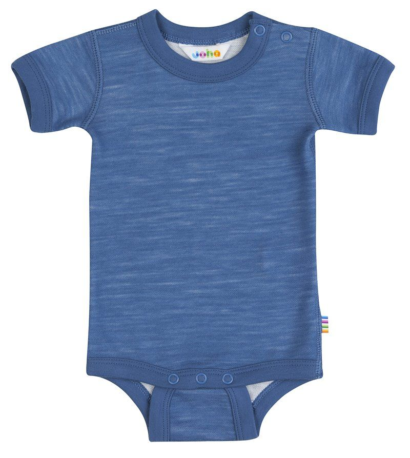 Image of   Body med korte ærmer fra Joha i uld/bambus - Blue horizon
