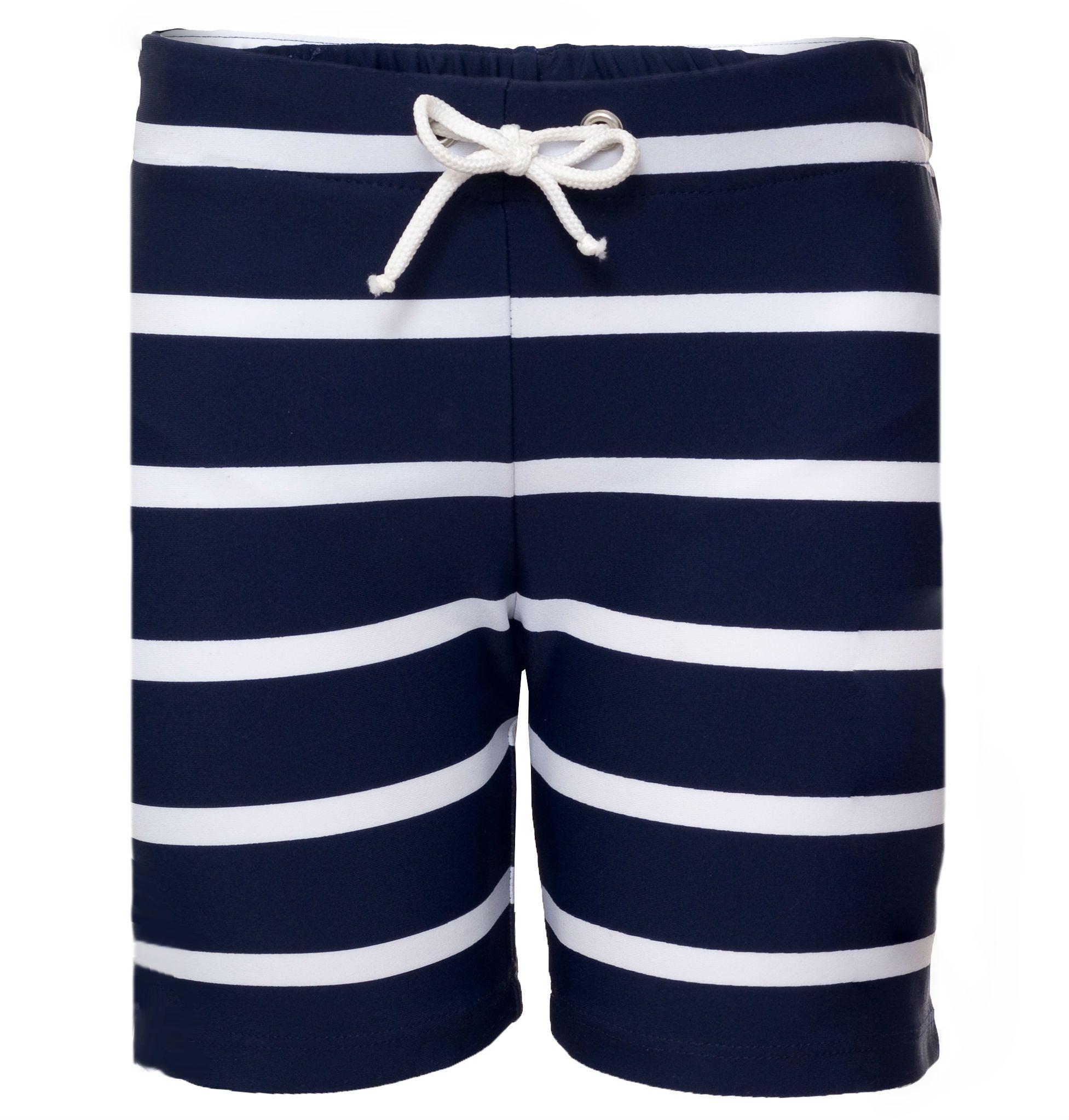 Billede af Shorts fra Petit Crabe - UV50 - Striber - Navy/Hvid