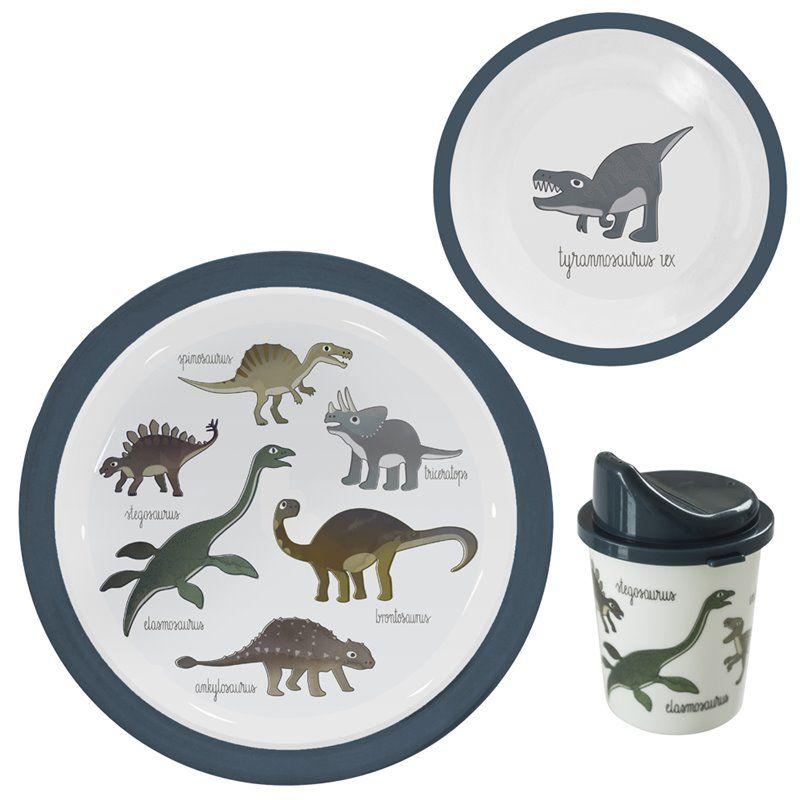 Image of   Spisesæt med 3 dele fra Sebra - Melamin Dino
