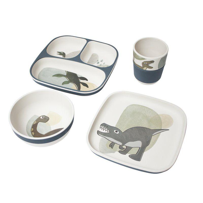 Image of   Spisesæt med 4 dele fra Sebra - Bambus Melamin Dino