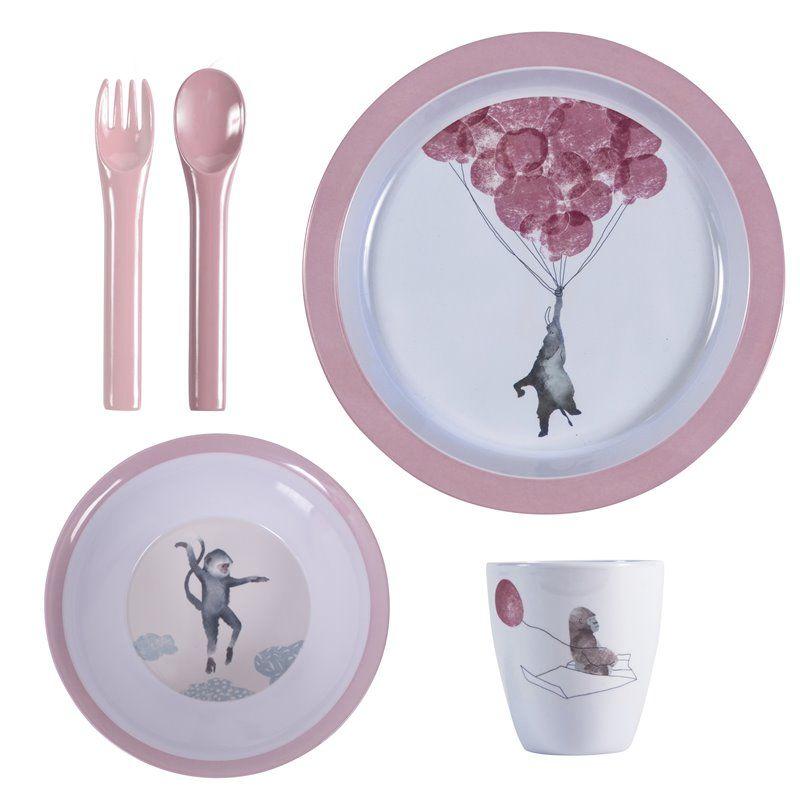 Billede af Spisesæt med 4 dele fra Sebra - Melamin In the Sky vintage rose