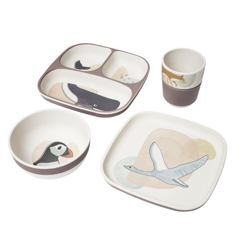 Image of   Spisesæt med 4 dele fra Sebra - Bambus melamin Arctic animals