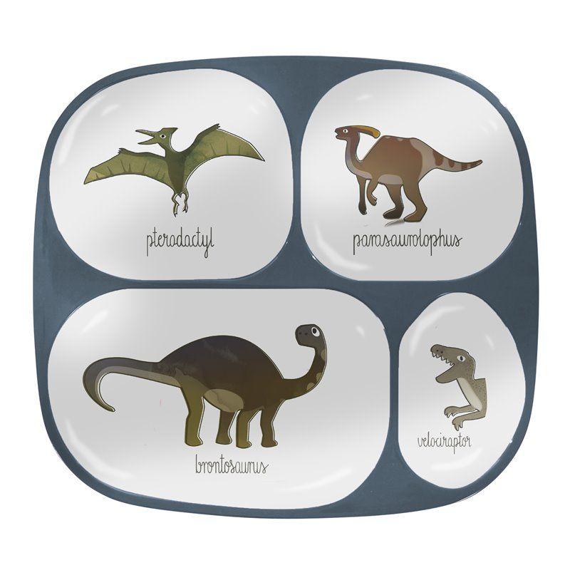 Image of Ruminddelt tallerken med 4 rum fra Sebra - Melamin Dino (7006101)