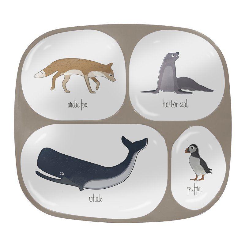 Image of Ruminddelt tallerken med 4 rum fra Sebra - Melamin Arctic animals (7006201)