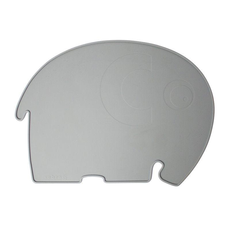 Image of Dækkeserviet fra Sebra - Silikone elefant grå (7010301)