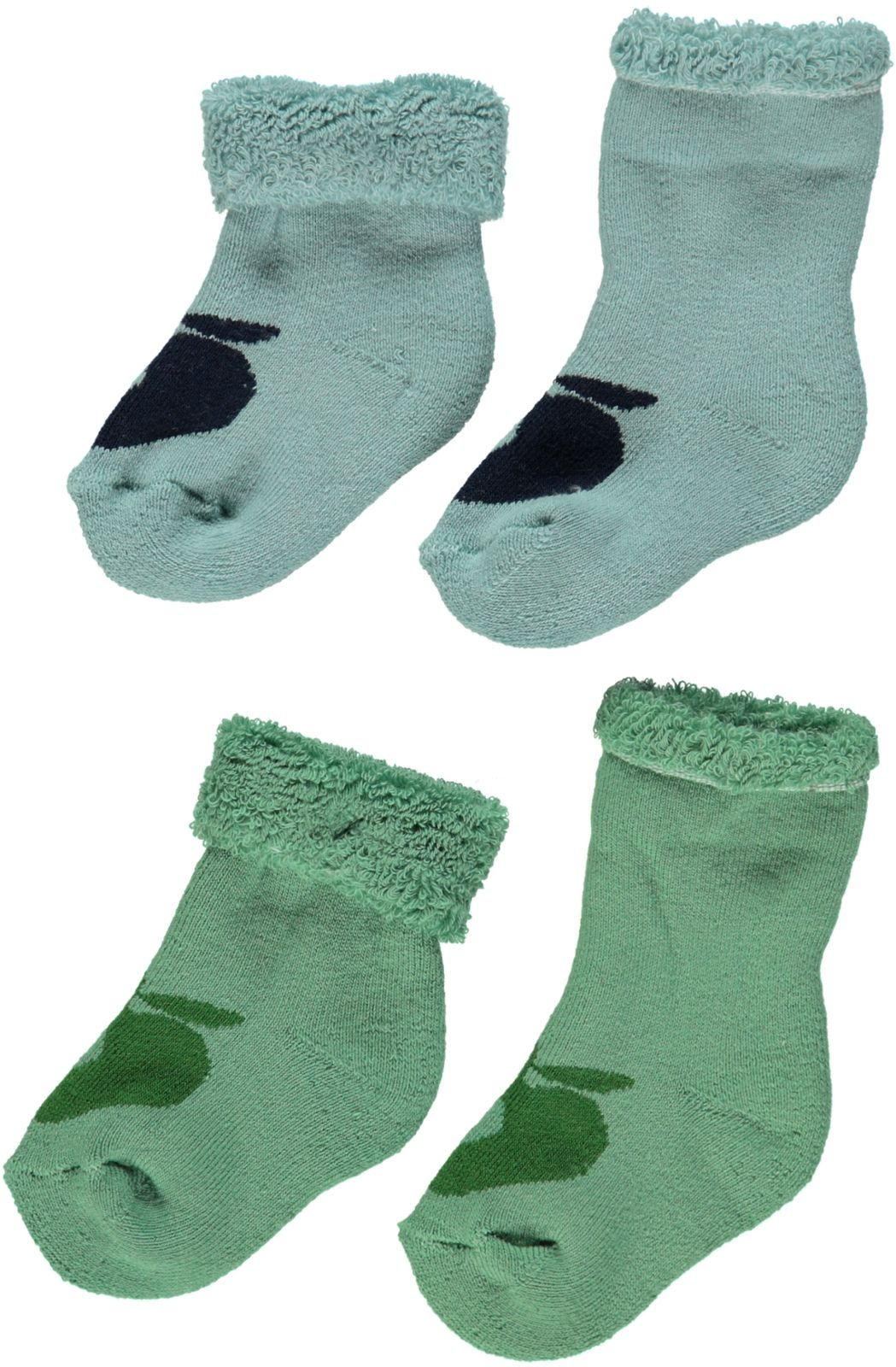 Image of   Baby frotte strømper fra Småfolk - Blå/Grøn (2-pak)