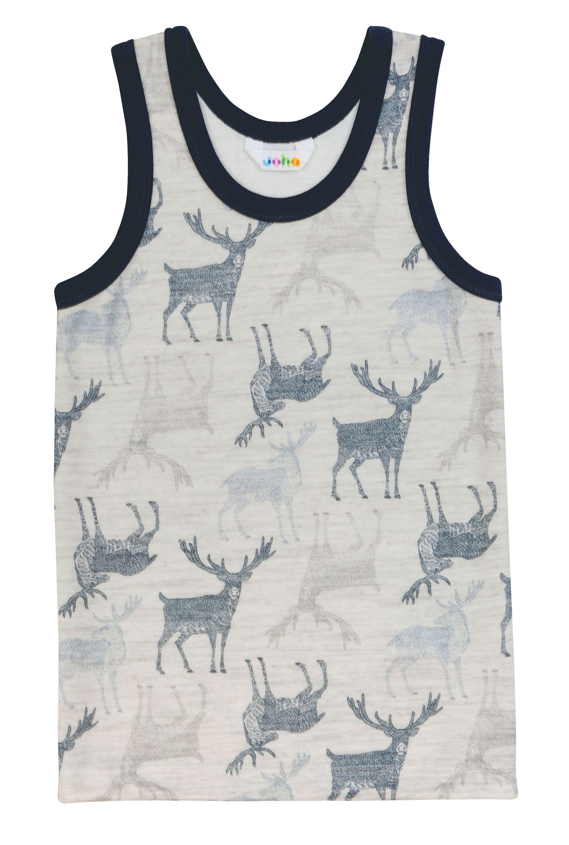 Undertrøje fra Joha i uld-bambus m. Grey-navy Deer