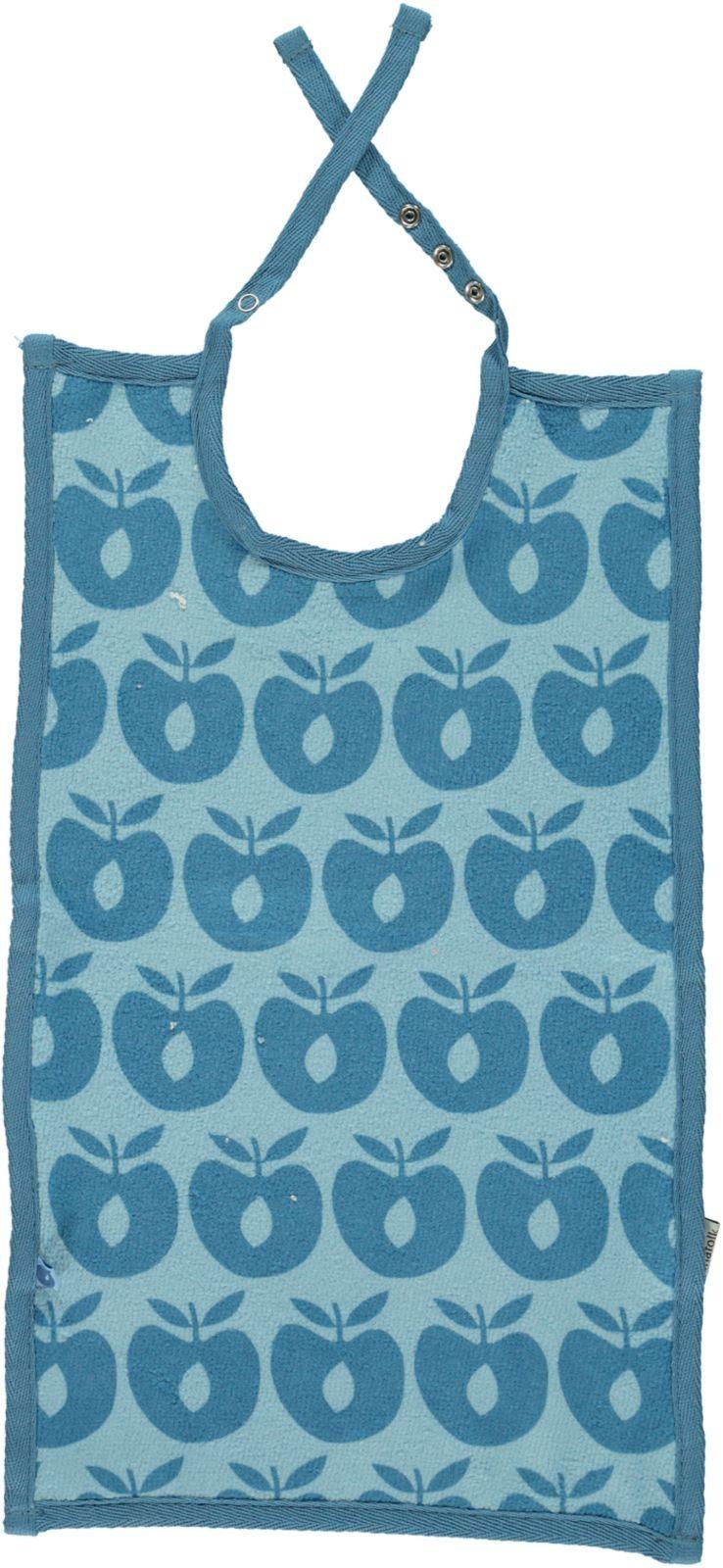 Image of Frotté hagesmæk fra Småfolk - Lang - Økologisk - Blue Apples (80-9040-blue)