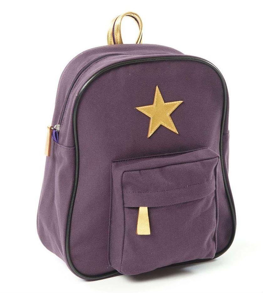 Stor rygsæk fra Smallstuff - Gold Star - Aubergine