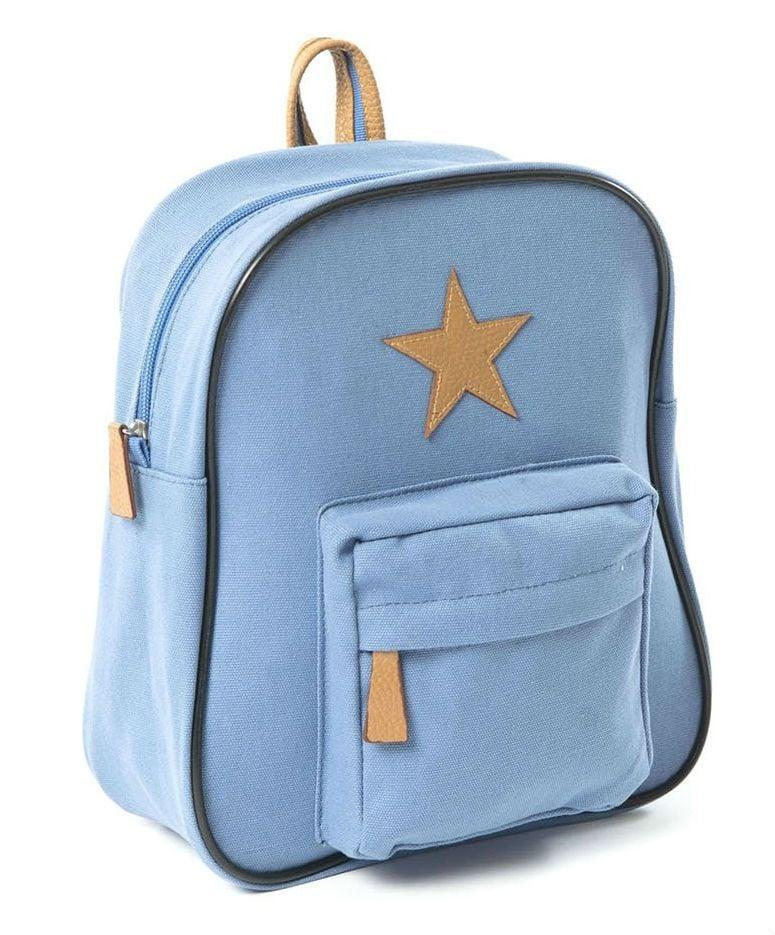 Billede af Stor rygsæk fra Smallstuff - Leather Star - Himmelblå