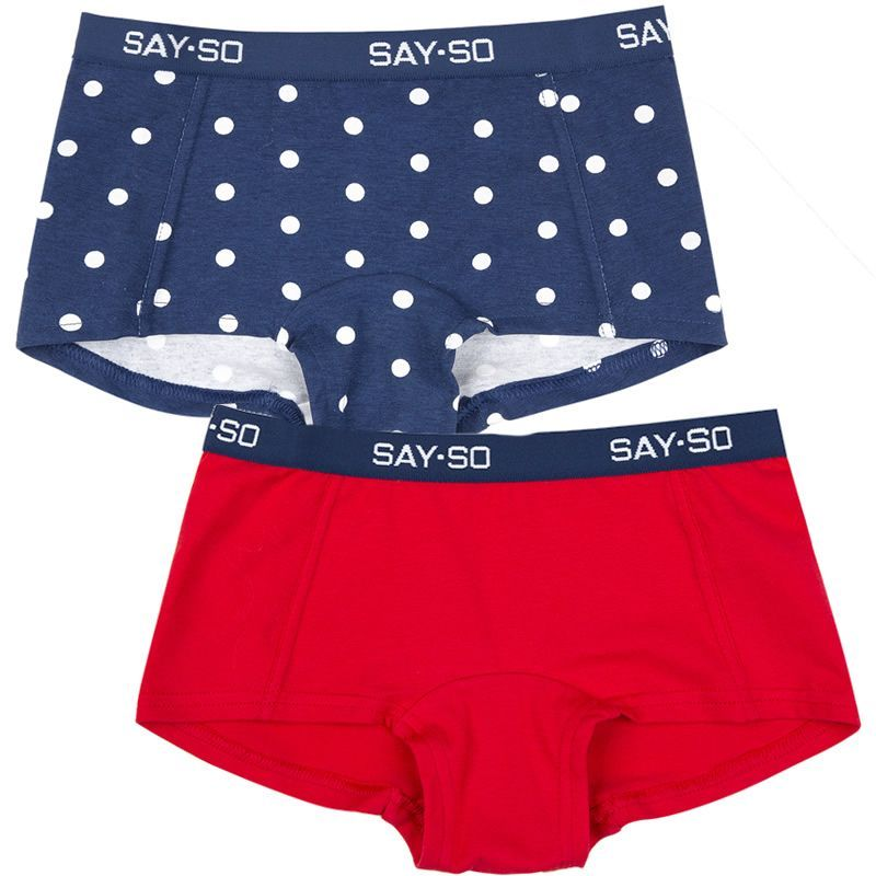 Image of   Hipsters fra Say So by Joha - 2 par - Navy/Dots + Red