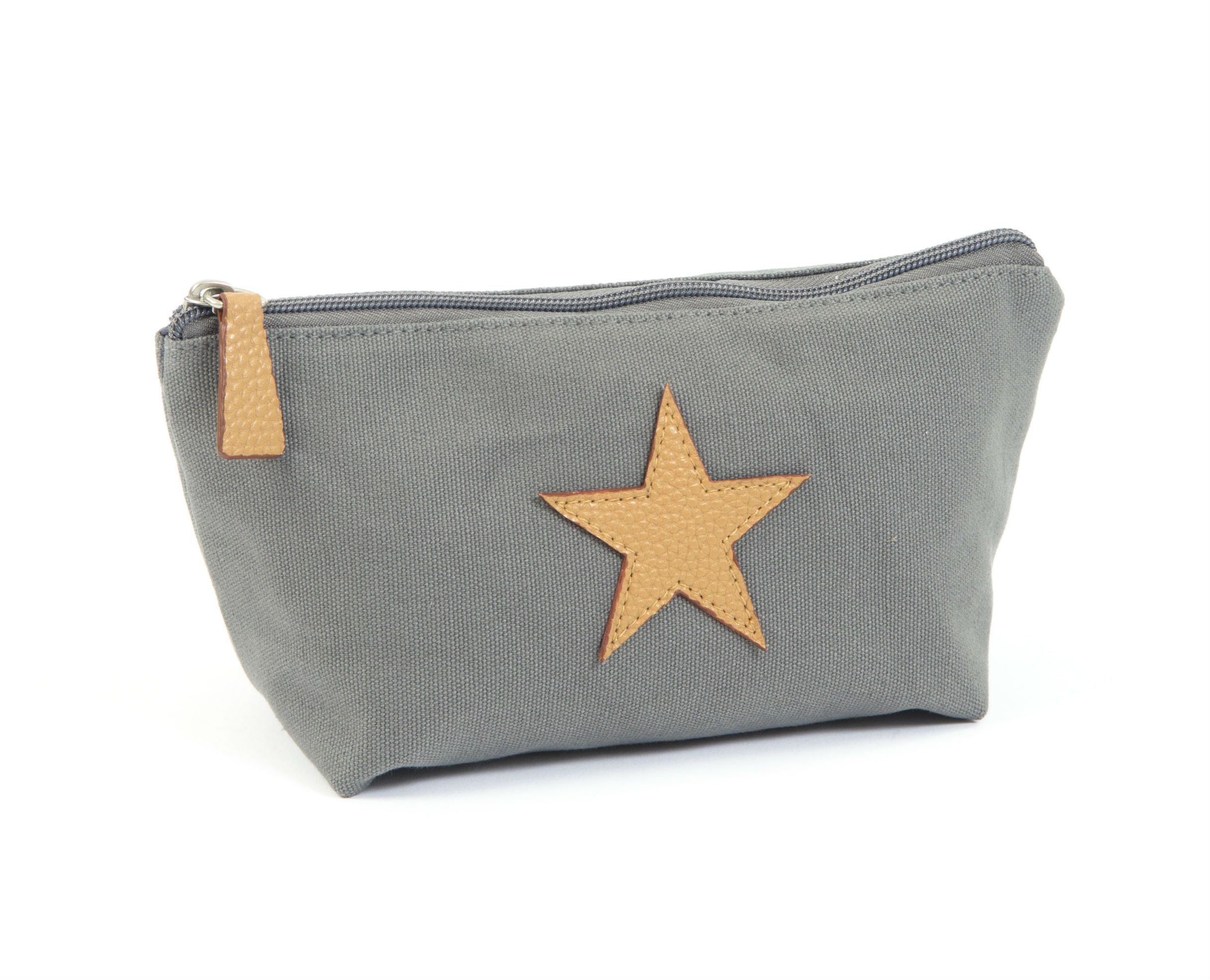 Toilettaske fra Smallstuff - Dark Grey Kanvas & Leather Star - Lille