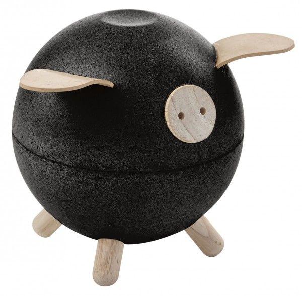 Image of Sparegris fra Plantoys - Sort - Bæredygtigt legetøj (8613)