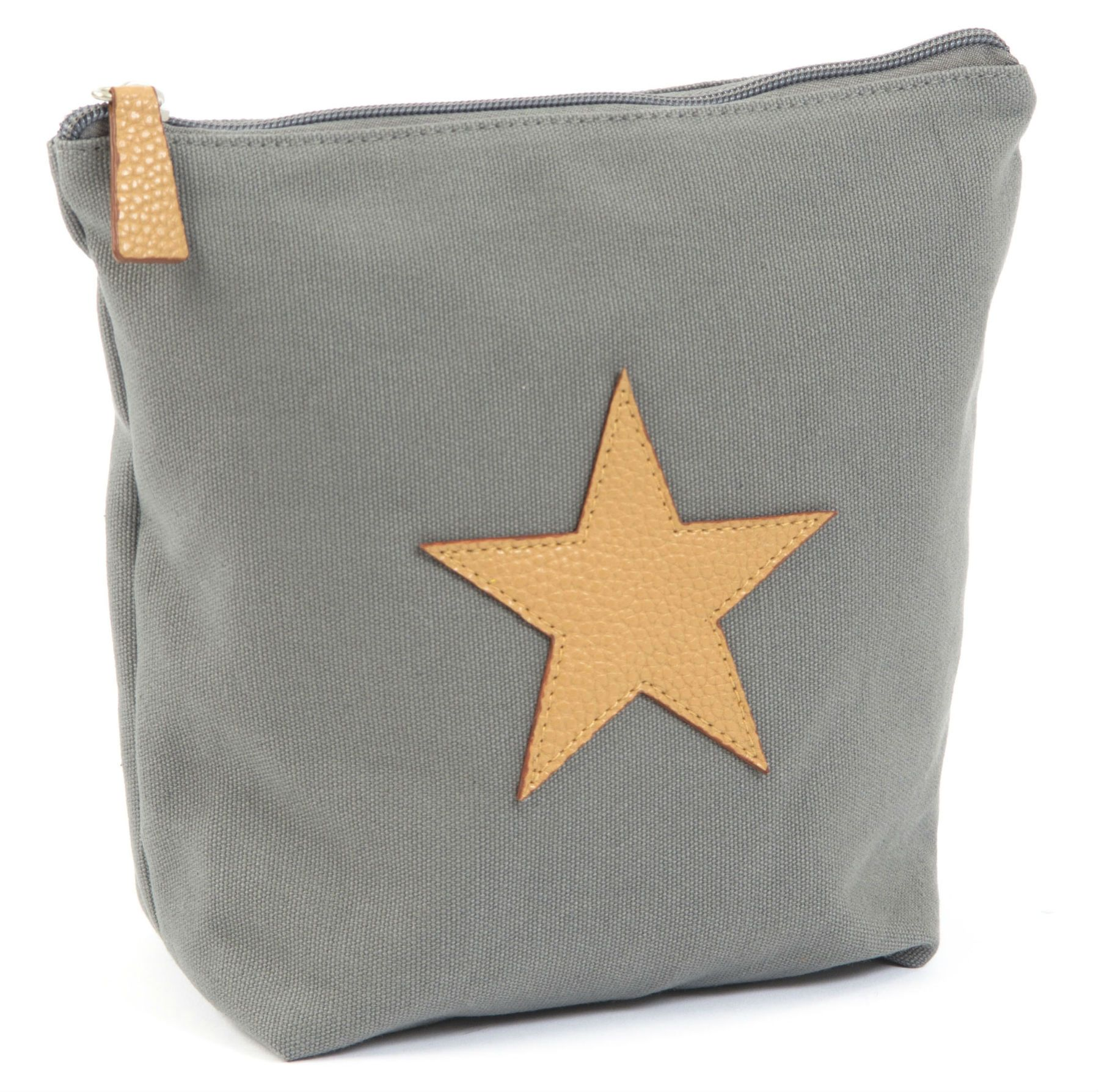 Toilettaske fra Smallstuff - Dark Grey Kanvas & Leather Star - Stor