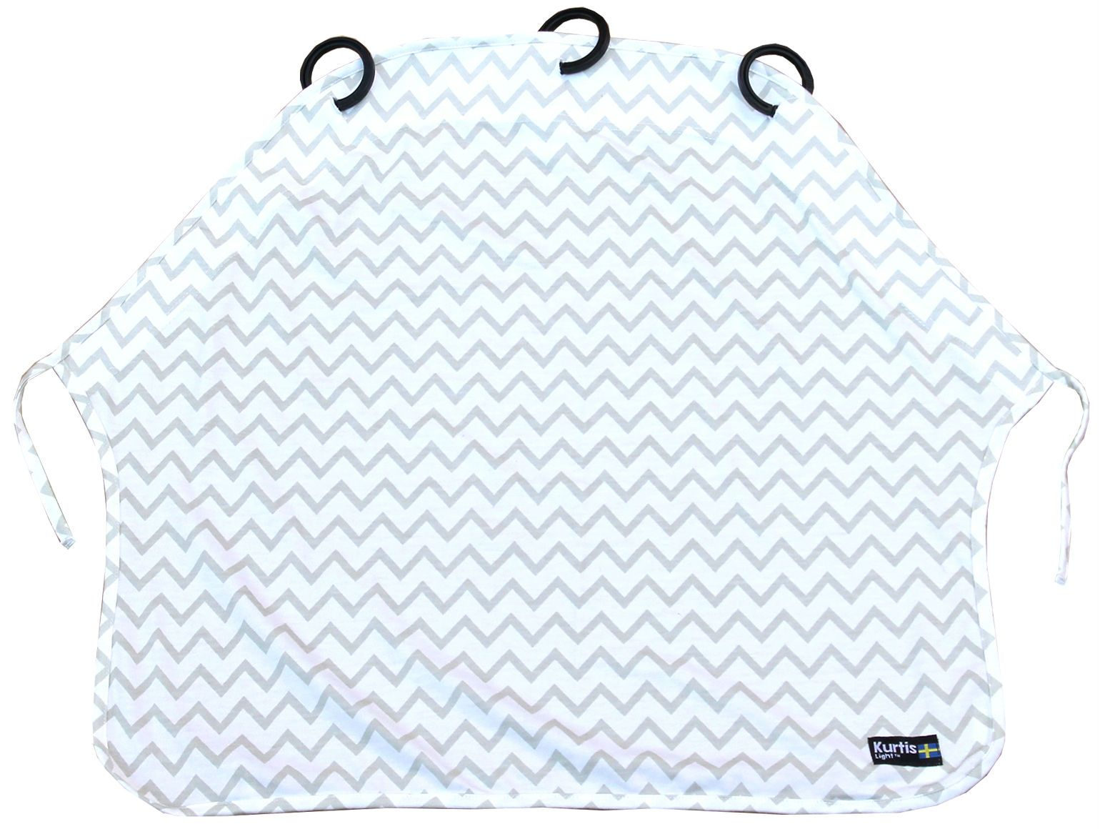 Image of Barnevognsgardin fra Kurtis - Baby Peace Light - Grey Zig-Zag (107243)
