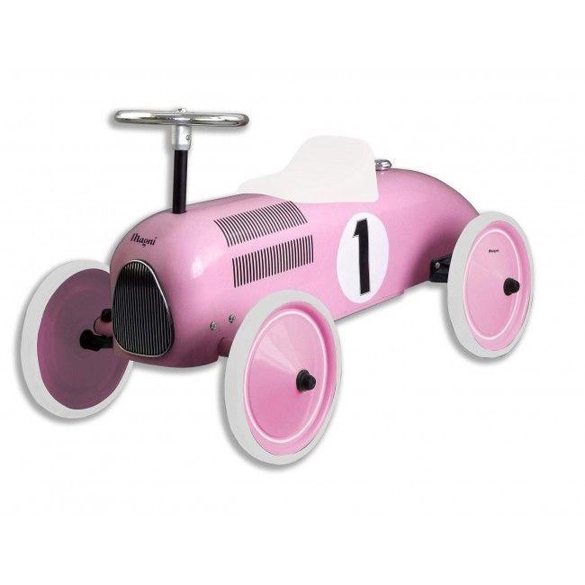 Gåbil i metal m. gummihjul fra Magni - Pink Racerbil