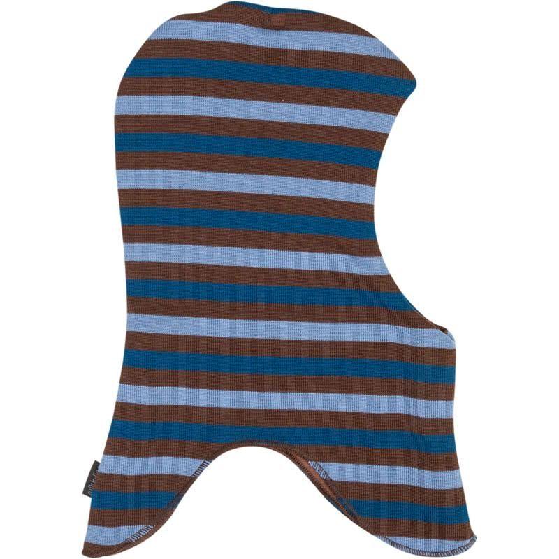 Elefanthue i uld fra Mikk-Line m. windbreaker - Chestnut stripe