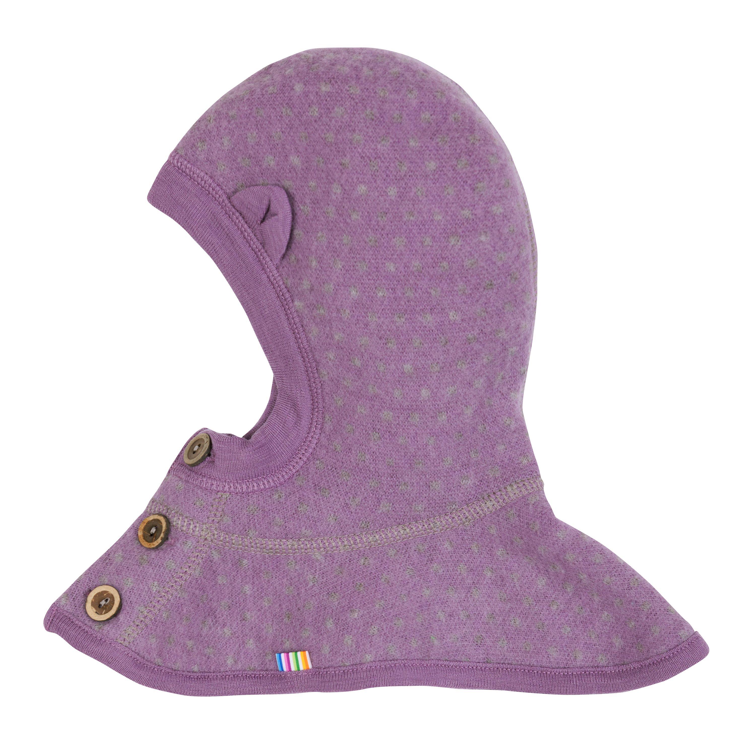 Elefanthue fra Joha - Soft Wool - Ører og knapper - Lavender Dots