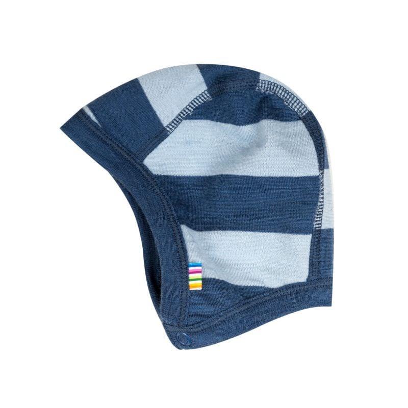 Joha Hjelm m. knap fra joha i yarn dyed uld - stripeblue fra babygear.dk