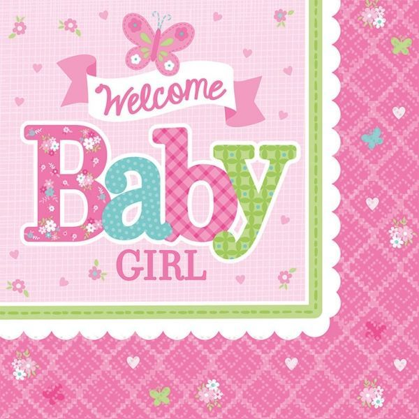 Image of Servietter - Welcome Baby Girl (16 stk) (511458)