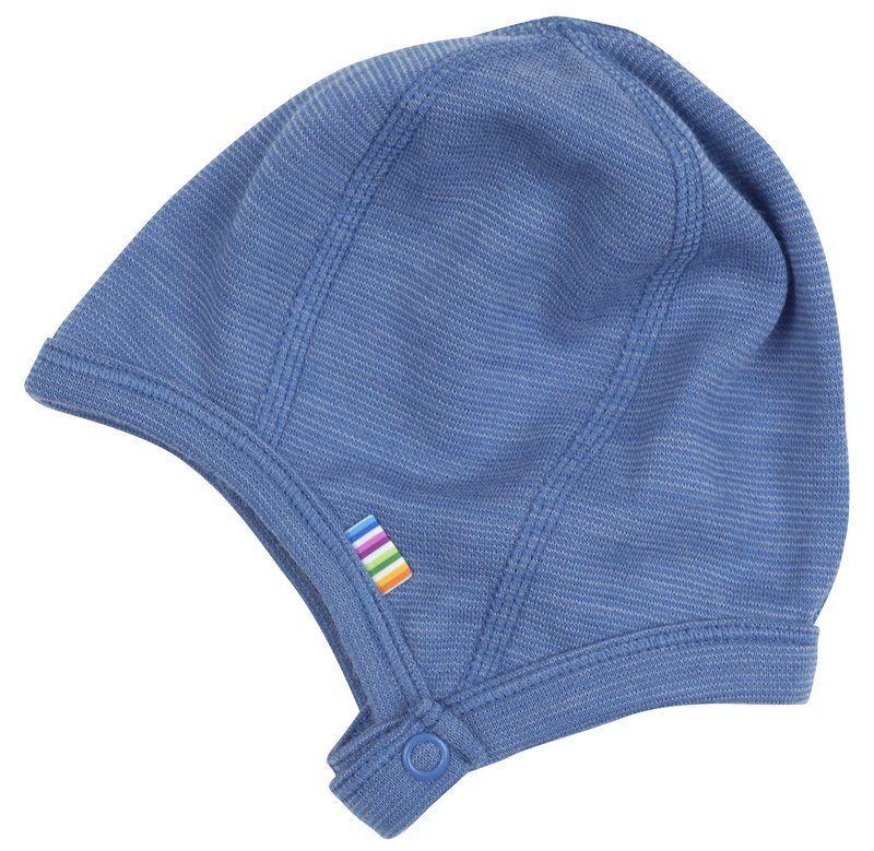 Image of   Hjelm med trykknap fra Joha i uld - Melange Blue