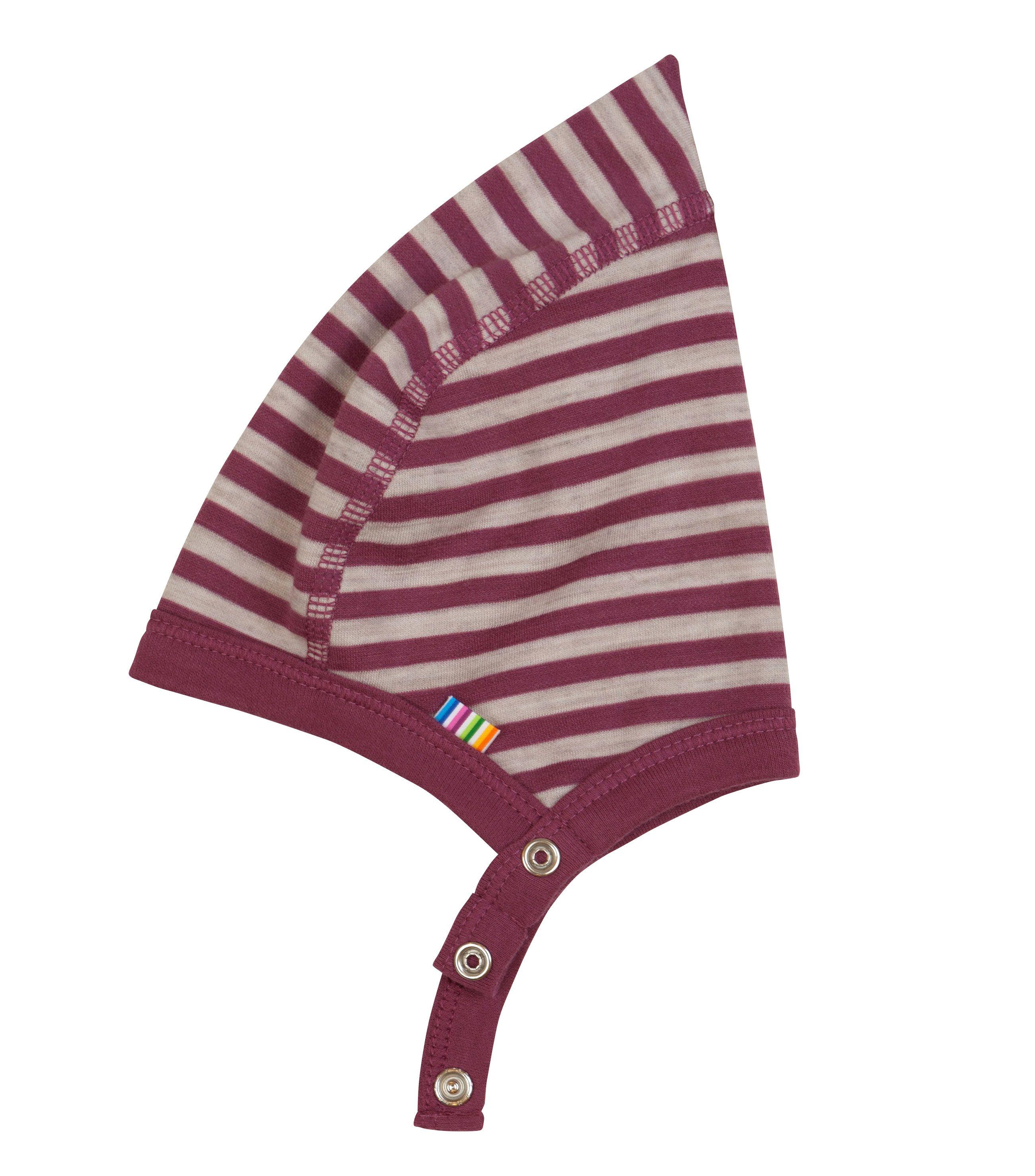 Image of   Hjelm m. knap fra Joha i uld-bomuld m. Red-grey stripe