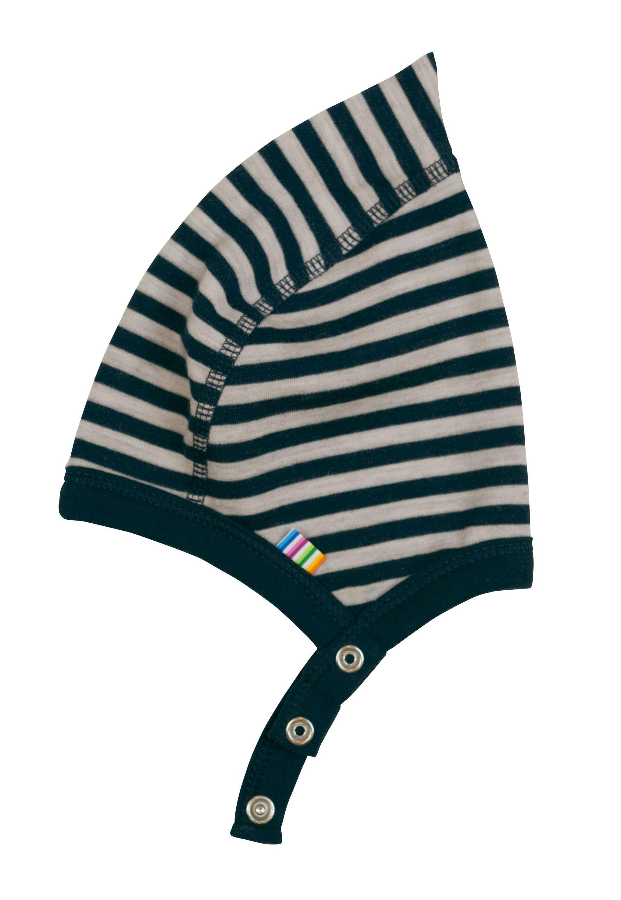 Image of Hjelm m. knap fra Joha i uld-bomuld m. Blue-grey stripe (98330-43-6927)