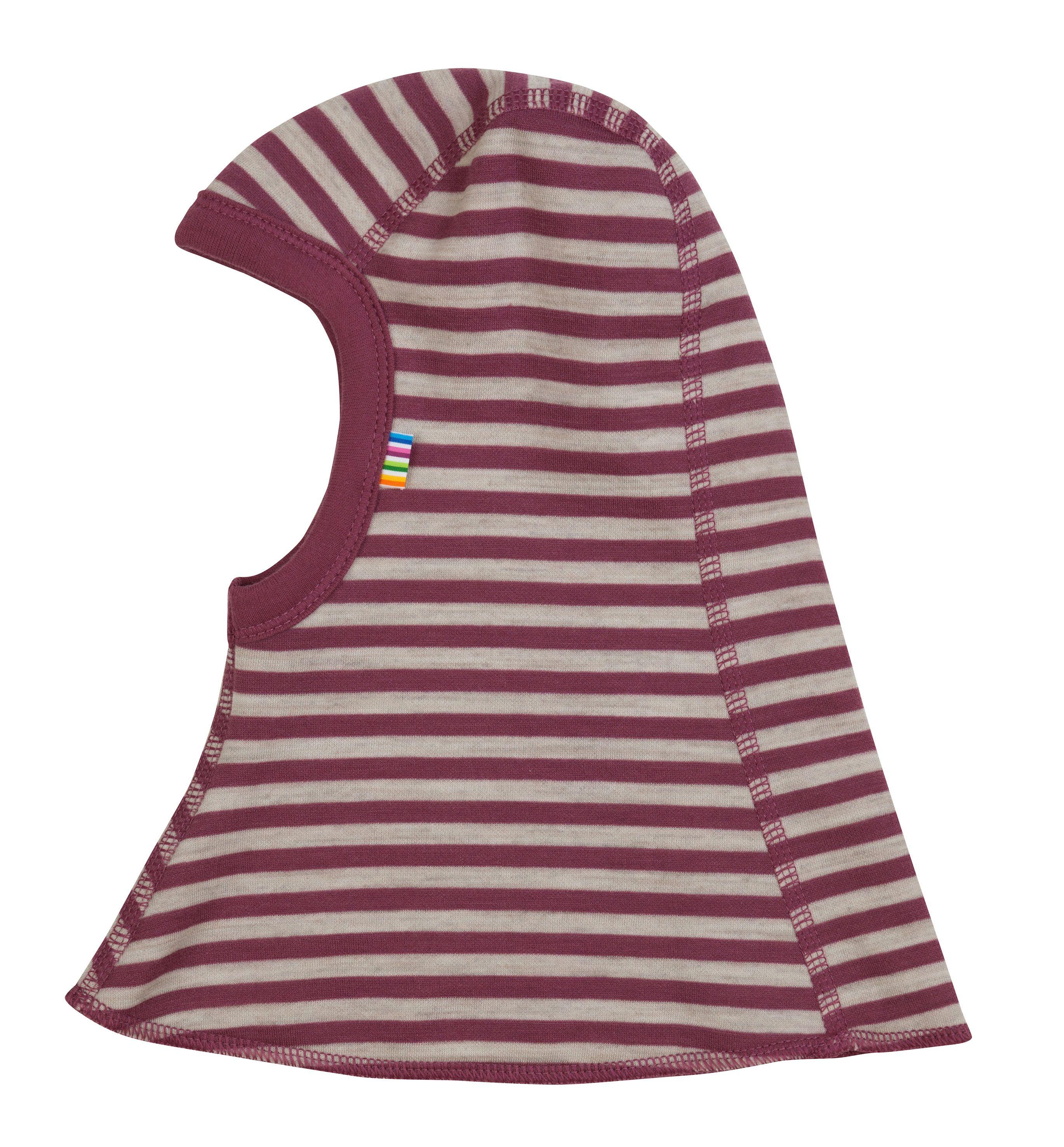Elefanthue dobbelt fra Joha i uld-bomuld m. Red-grey stripe