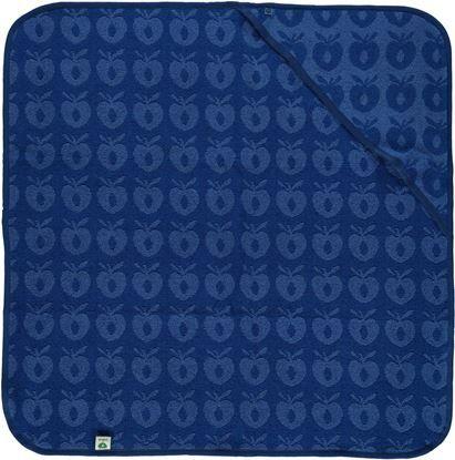 Småfolk – Småfolk baby håndklæde med æbler - blå fra babygear.dk